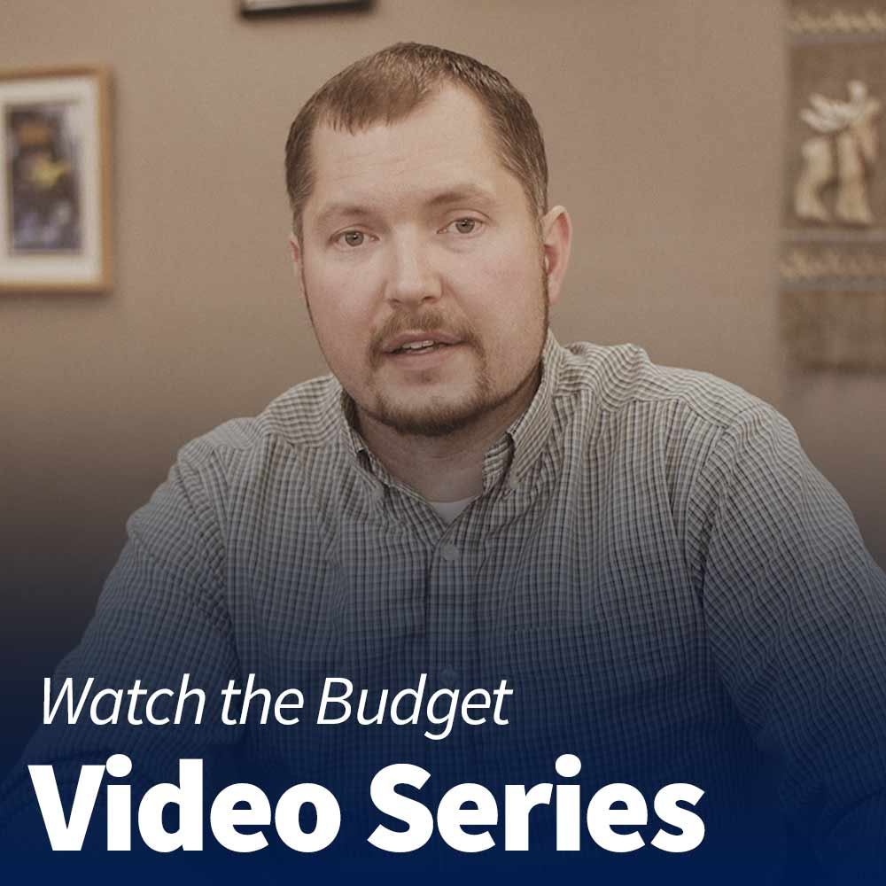 "Text that reads ""Watch the Budget Video Series"" overlayed on an image of Mayor Ward"